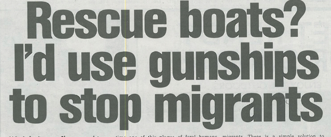 20150417 The Sun. Discrimination. Rescue boats I'd use gunships to stop migrants
