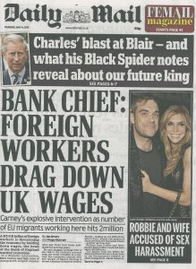 20150514 Daily Mail. MH. Bank chief, foreign workers drag down UK wages, front page copy