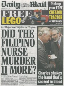 20150520 Daily Mail. Discrimination. Did the Filipino nurse murder 11 more, front page copy