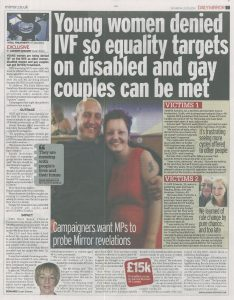 20150523 Daily Mirror. MH. Young women denied IVF so equality targets on disabled and gay couples can be met copy