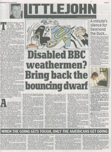 20150529 Daily Mail. Accuracy. Disabled BBC weathermen. Bring back the bouncing dwarf copy