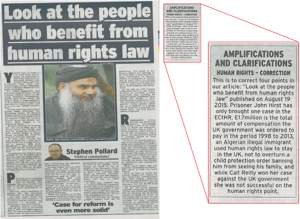 Daily Express Human Rights Correction