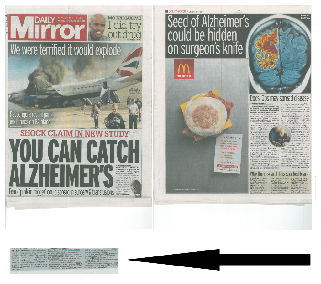 Daily Mirror Alzheimers Correction